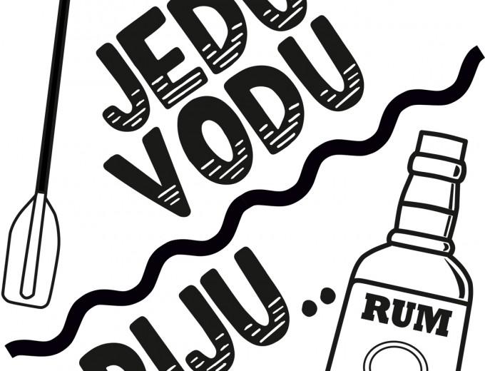 Jedu vodu, piju rum - jednobarevný potisk