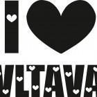 I LOVE VLTAVA (případně název jiné řeky) - jednobarevný potisk